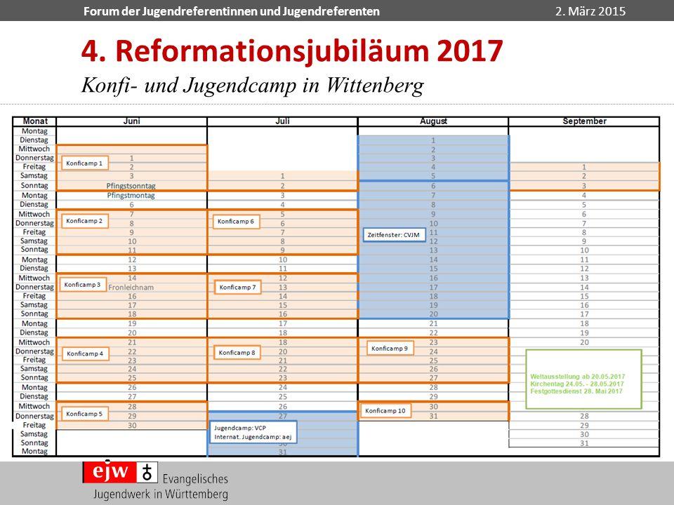 Forum der Jugendreferentinnen und Jugendreferenten2. März 2015 4. Reformationsjubiläum 2017 Konfi- und Jugendcamp in Wittenberg Kalender für die Einte