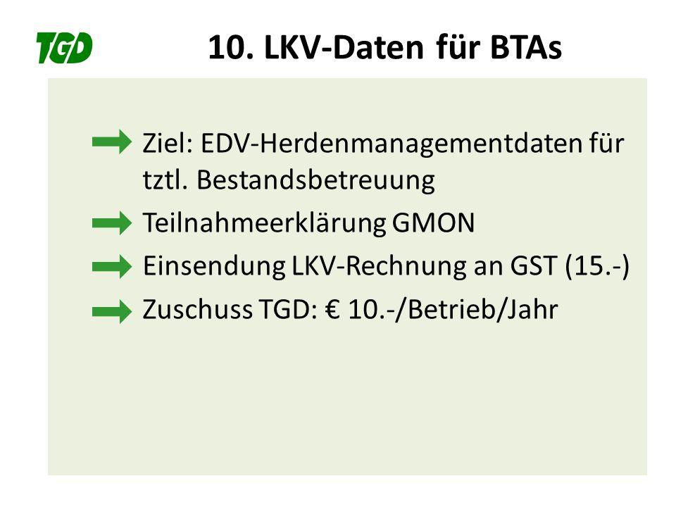 10. LKV-Daten für BTAs Ziel: EDV-Herdenmanagementdaten für tztl. Bestandsbetreuung Teilnahmeerklärung GMON Einsendung LKV-Rechnung an GST (15.-) Zusch
