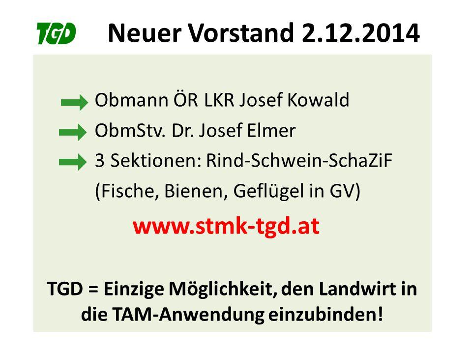 Neuer Vorstand 2.12.2014 Obmann ÖR LKR Josef Kowald ObmStv. Dr. Josef Elmer 3 Sektionen: Rind-Schwein-SchaZiF (Fische, Bienen, Geflügel in GV) www.stm