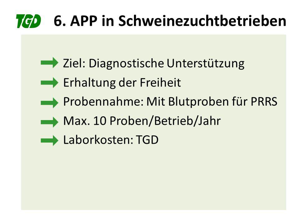6. APP in Schweinezuchtbetrieben Ziel: Diagnostische Unterstützung Erhaltung der Freiheit Probennahme: Mit Blutproben für PRRS Max. 10 Proben/Betrieb/