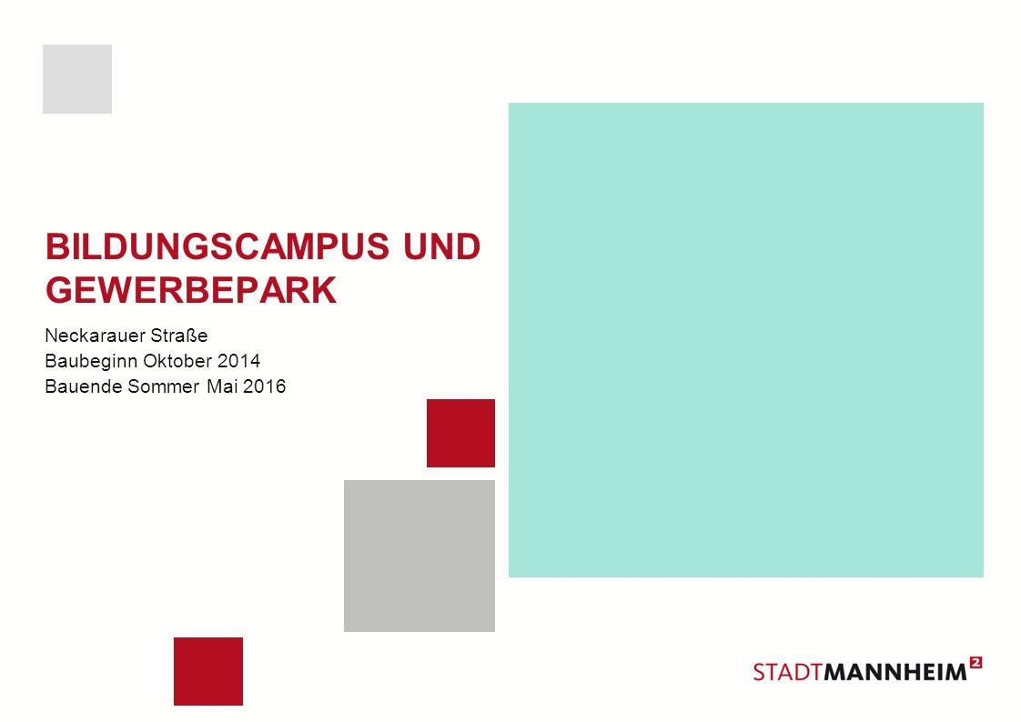 BILDUNGSCAMPUS UND GEWERBEPARK Neckarauer Straße Baubeginn Oktober 2014 Bauende Sommer Mai 2016
