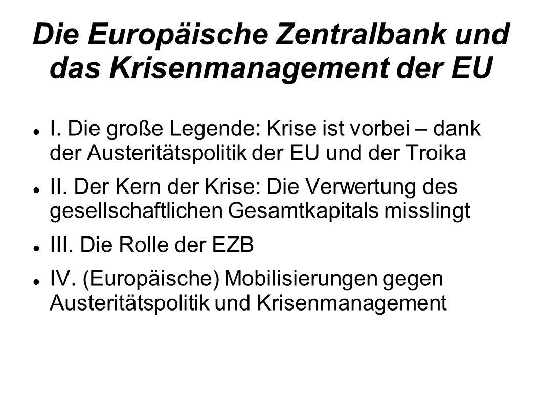 Die Europäische Zentralbank und das Krisenmanagement der EU I. Die große Legende: Krise ist vorbei – dank der Austeritätspolitik der EU und der Troika