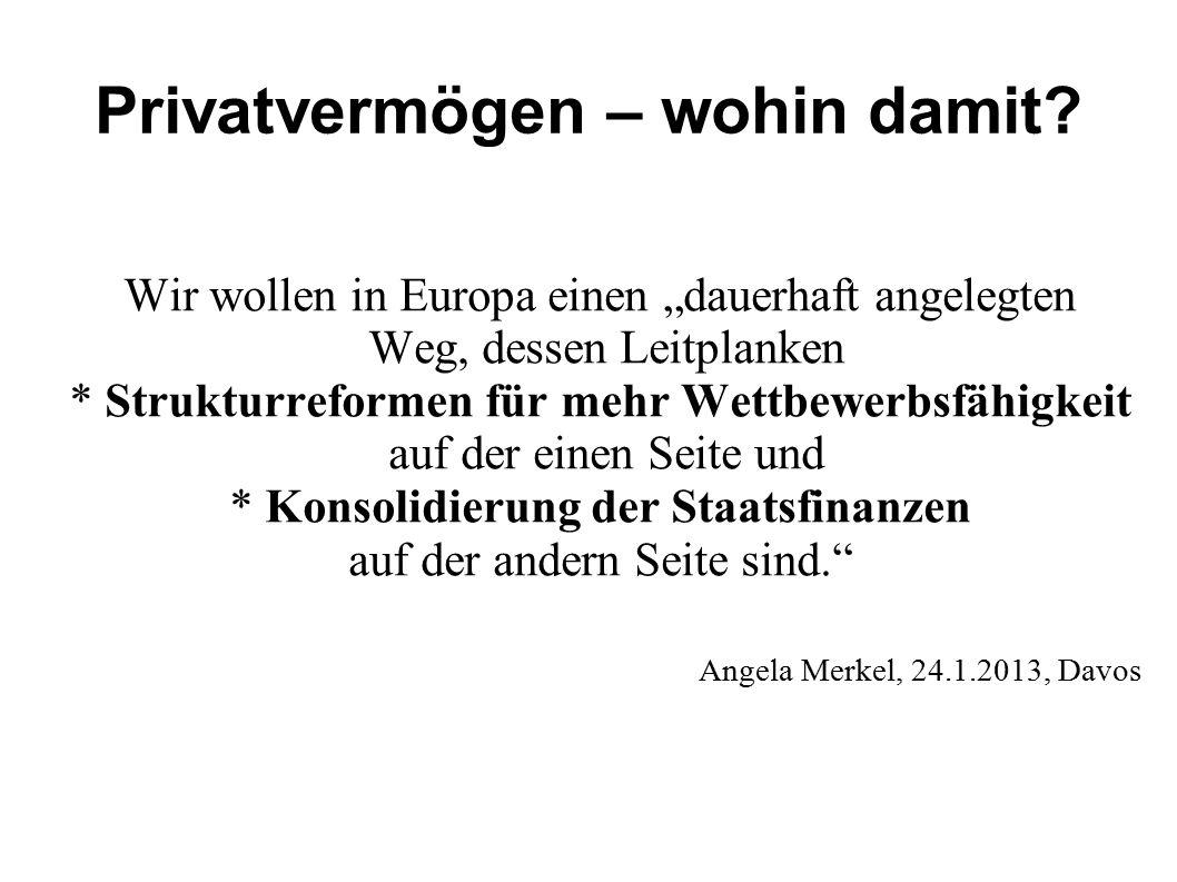 """Privatvermögen – wohin damit? Wir wollen in Europa einen """"dauerhaft angelegten Weg, dessen Leitplanken * Strukturreformen für mehr Wettbewerbsfähigkei"""