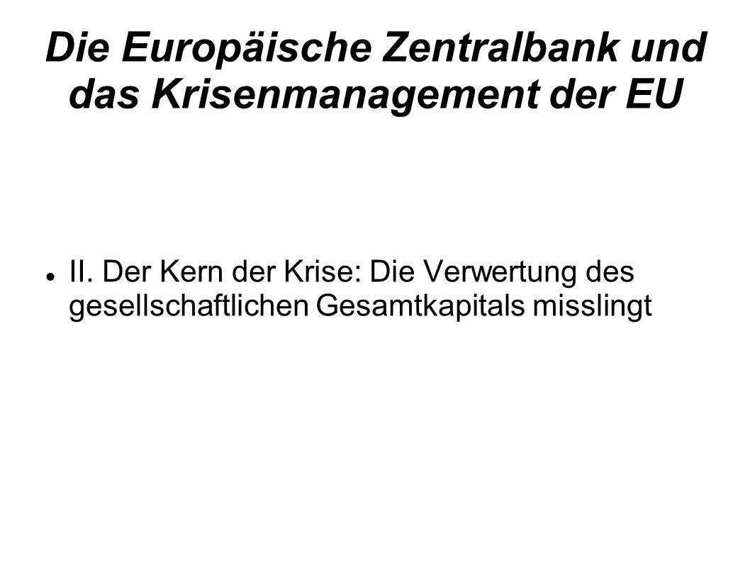 Die Europäische Zentralbank und das Krisenmanagement der EU II. Der Kern der Krise: Die Verwertung des gesellschaftlichen Gesamtkapitals misslingt