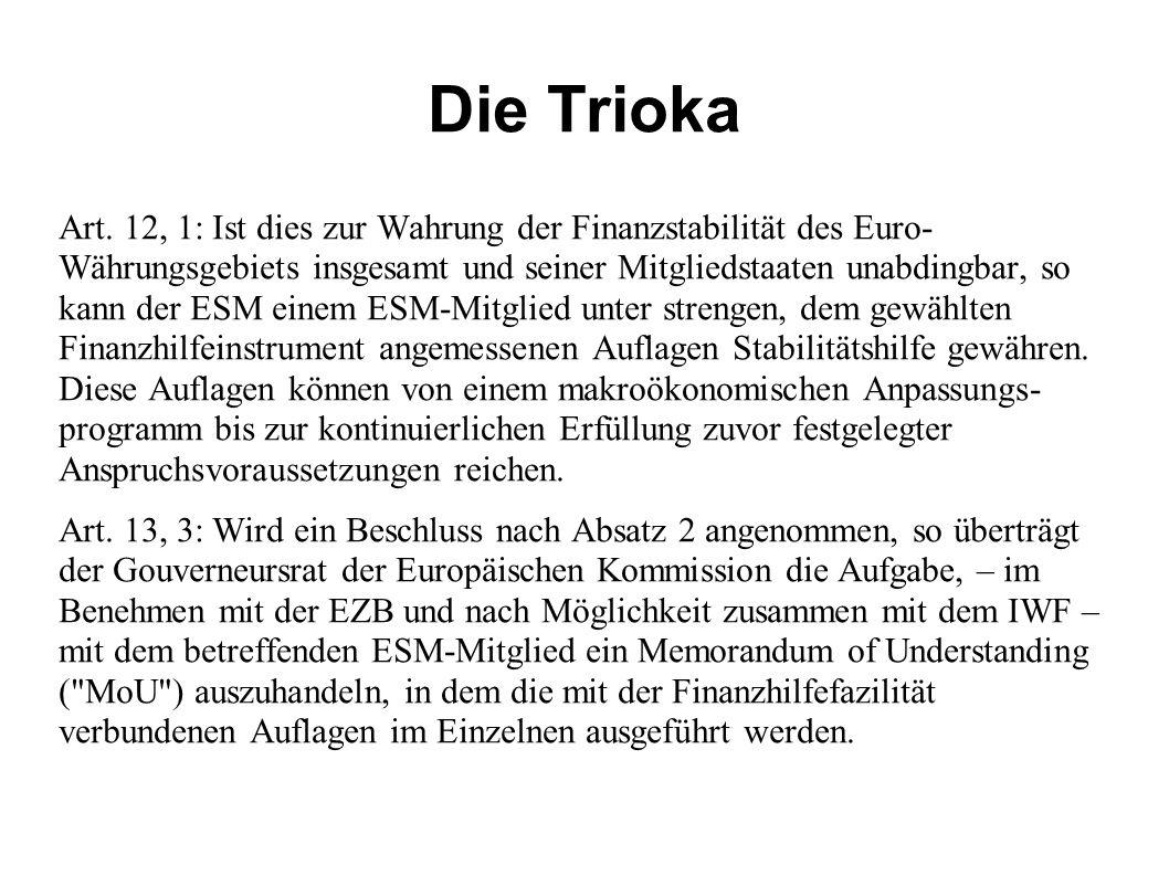 Die Trioka Art. 12, 1: Ist dies zur Wahrung der Finanzstabilität des Euro- Währungsgebiets insgesamt und seiner Mitgliedstaaten unabdingbar, so kann d