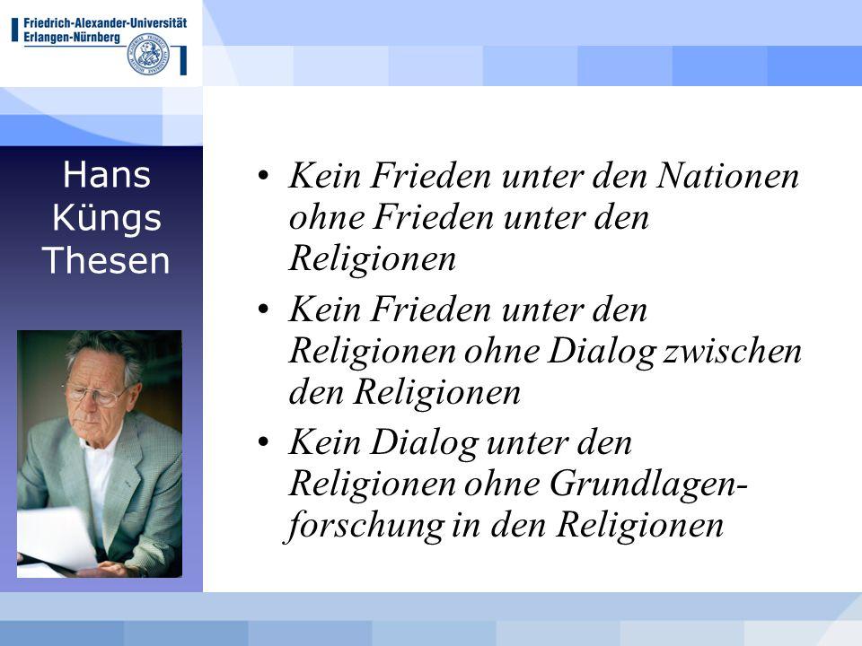 Hans Küngs Thesen Kein Frieden unter den Nationen ohne Frieden unter den Religionen Kein Frieden unter den Religionen ohne Dialog zwischen den Religionen Kein Dialog unter den Religionen ohne Grundlagen- forschung in den Religionen