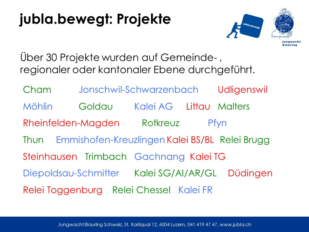 jubla.bewegt: Projekte Über 30 Projekte wurden auf Gemeinde-, regionaler oder kantonaler Ebene durchgeführt.