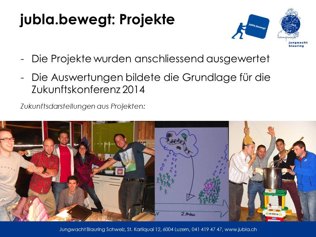 jubla.bewegt: Projekte -Die Projekte wurden anschliessend ausgewertet -Die Auswertungen bildete die Grundlage für die Zukunftskonferenz 2014 Zukunftsdarstellungen aus Projekten: Jungwacht Blauring Schweiz, St.