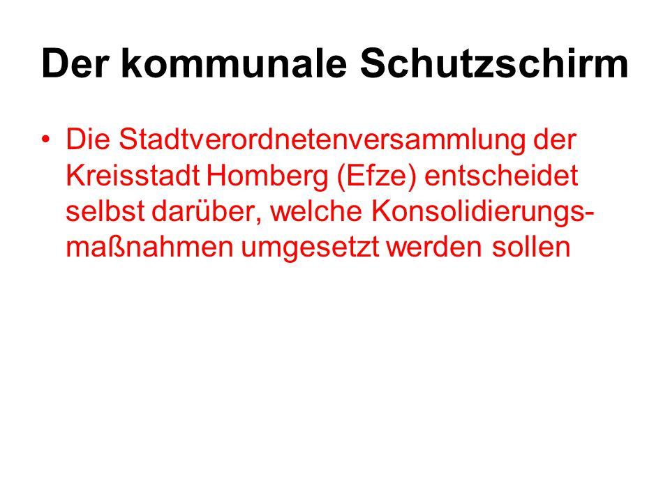 Der kommunale Schutzschirm Die Stadtverordnetenversammlung der Kreisstadt Homberg (Efze) entscheidet selbst darüber, welche Konsolidierungs- maßnahmen