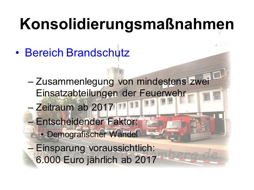 Konsolidierungsmaßnahmen Bereich Brandschutz –Zusammenlegung von mindestens zwei Einsatzabteilungen der Feuerwehr –Zeitraum ab 2017 –Entscheidender Fa