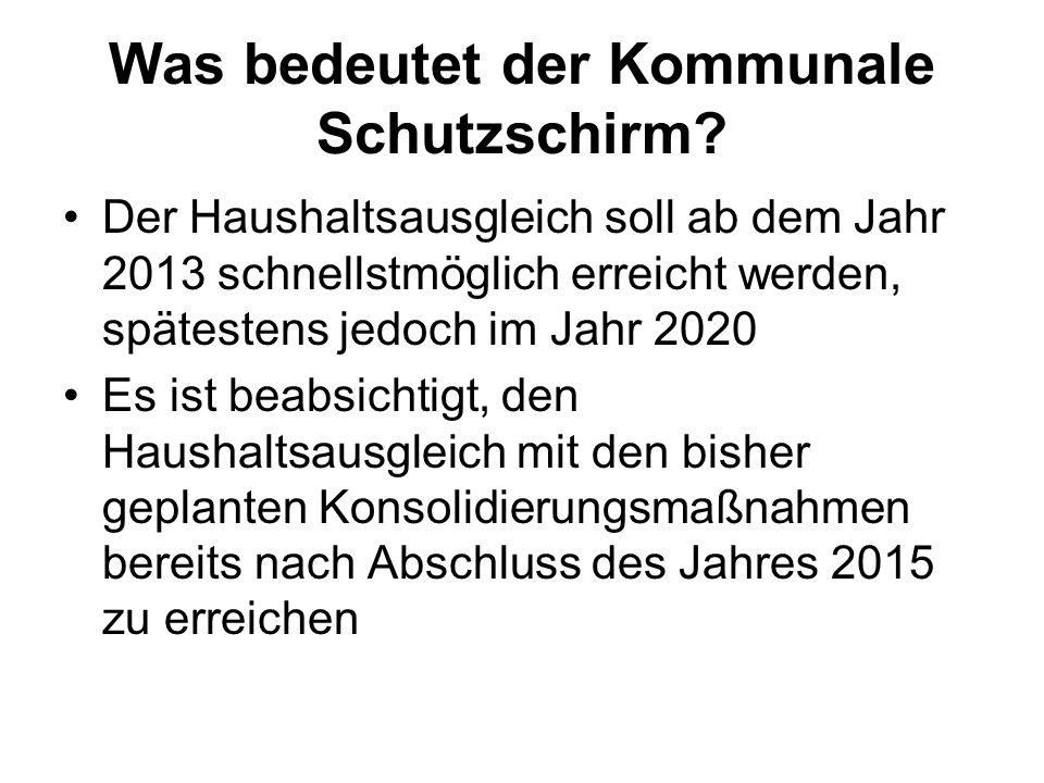 Der kommunale Schutzschirm Die Stadtverordnetenversammlung der Kreisstadt Homberg (Efze) entscheidet selbst darüber, welche Konsolidierungs- maßnahmen umgesetzt werden sollen