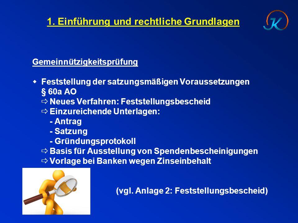 1. Einführung und rechtliche Grundlagen Gemeinnützigkeitsprüfung  Feststellung der satzungsmäßigen Voraussetzungen § 60a AO  Neues Verfahren: Festst