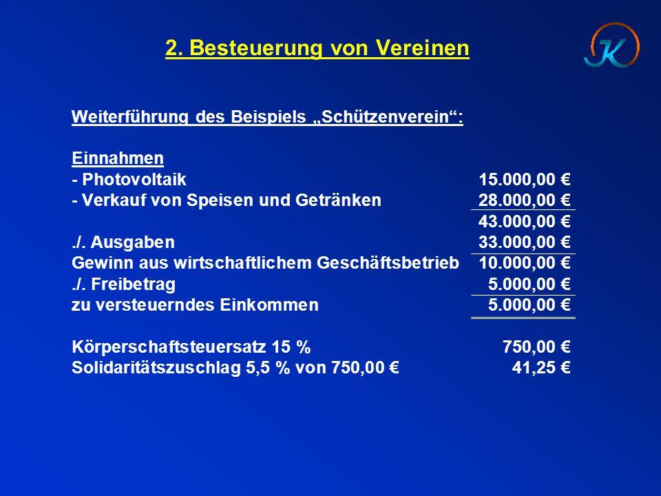"""2. Besteuerung von Vereinen Weiterführung des Beispiels """"Schützenverein"""": Einnahmen - Photovoltaik15.000,00 € - Verkauf von Speisen und Getränken28.00"""