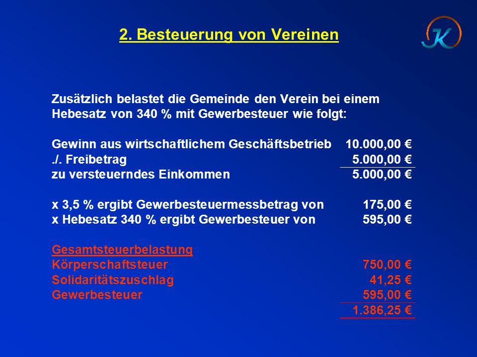 2. Besteuerung von Vereinen Zusätzlich belastet die Gemeinde den Verein bei einem Hebesatz von 340 % mit Gewerbesteuer wie folgt: Gewinn aus wirtschaf