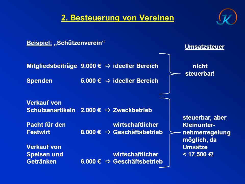 """2. Besteuerung von Vereinen Beispiel: """"Schützenverein"""" Mitgliedsbeiträge 9.000 €  ideeller Bereich Spenden5.000 €  ideeller Bereich Verkauf von Schü"""