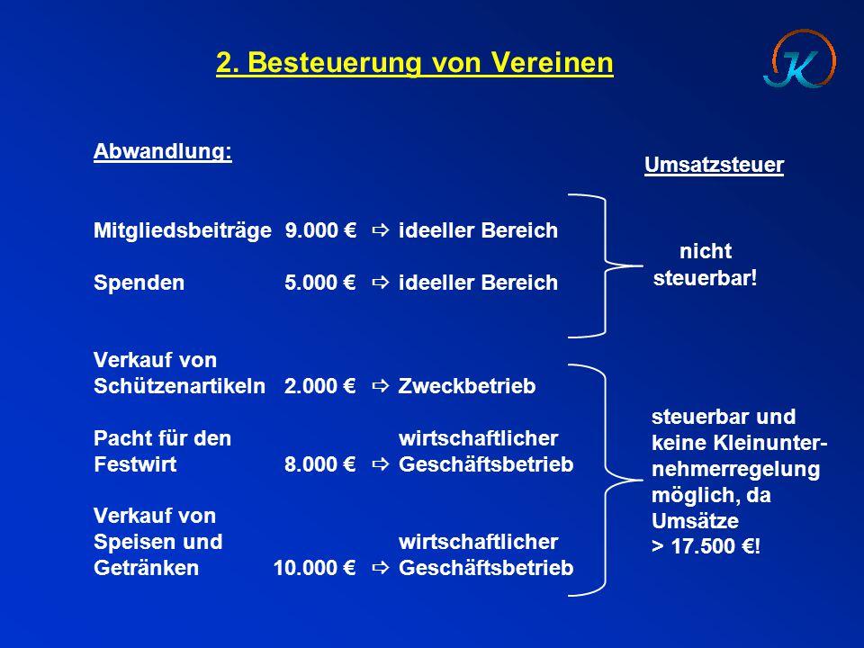2. Besteuerung von Vereinen Abwandlung: Mitgliedsbeiträge 9.000 €  ideeller Bereich Spenden5.000 €  ideeller Bereich Verkauf von Schützenartikeln2.0