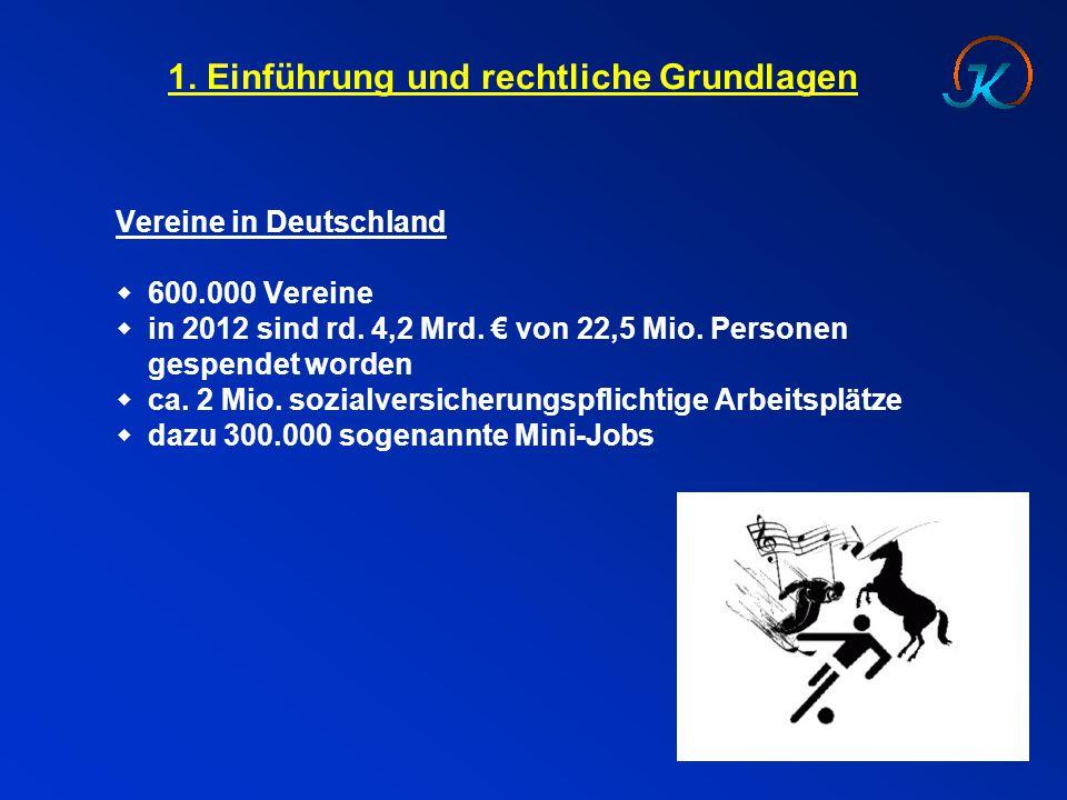 1. Einführung und rechtliche Grundlagen Vereine in Deutschland  600.000 Vereine  in 2012 sind rd. 4,2 Mrd. € von 22,5 Mio. Personen gespendet worden