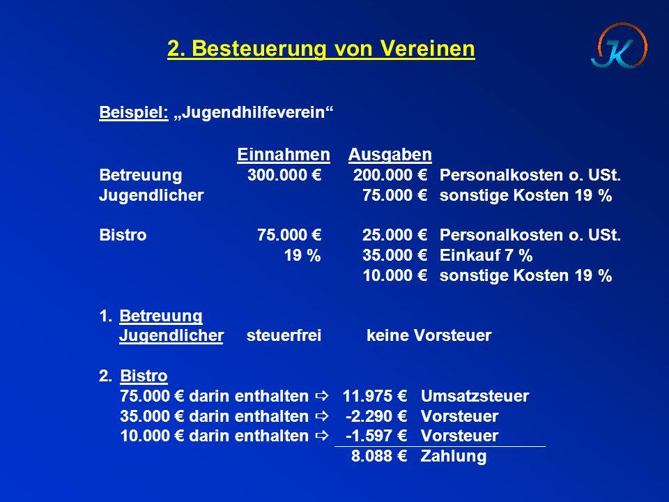 """2. Besteuerung von Vereinen Beispiel: """"Jugendhilfeverein"""" EinnahmenAusgaben Betreuung 300.000 €200.000 €Personalkosten o. USt. Jugendlicher75.000 €son"""