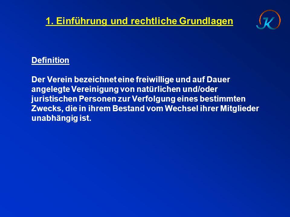 1. Einführung und rechtliche Grundlagen Definition Der Verein bezeichnet eine freiwillige und auf Dauer angelegte Vereinigung von natürlichen und/oder