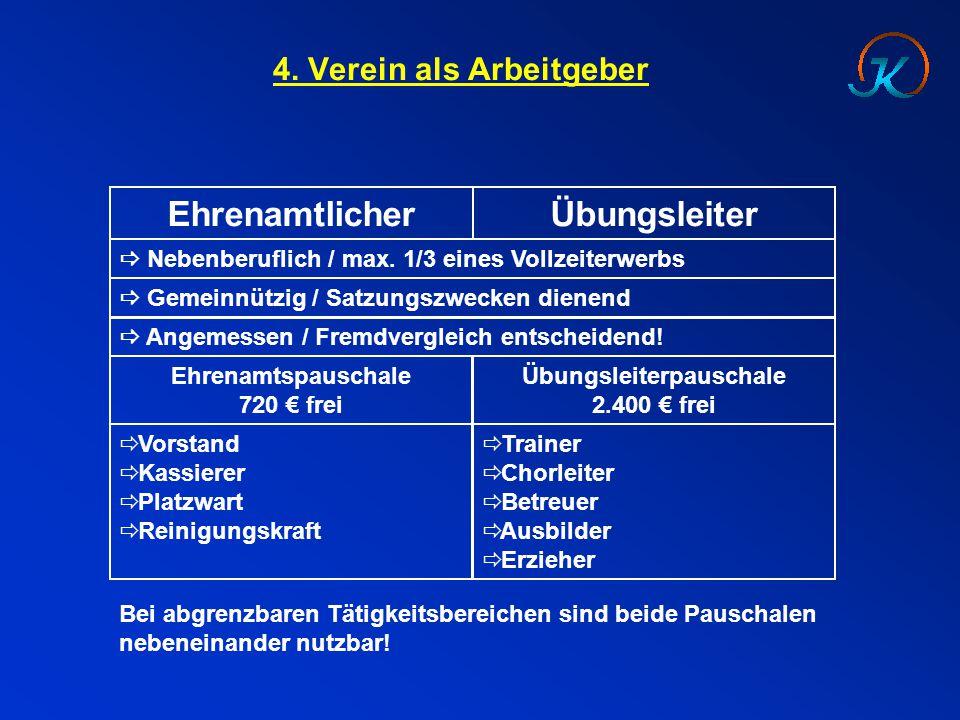 4. Verein als Arbeitgeber EhrenamtlicherÜbungsleiter  Nebenberuflich / max. 1/3 eines Vollzeiterwerbs  Gemeinnützig / Satzungszwecken dienend  Ange