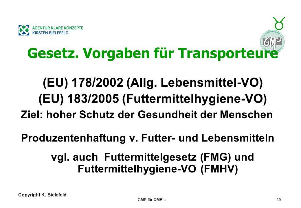 """+ _ Copyright K. Bielefeld GMP für QMB´s9 GMP+-Ziele Basis ist DIN EN ISO 9001, Schwerpunkte: _ 1.: Erhaltung der """"Basisqualität"""", d.h. Produkt- kateg"""