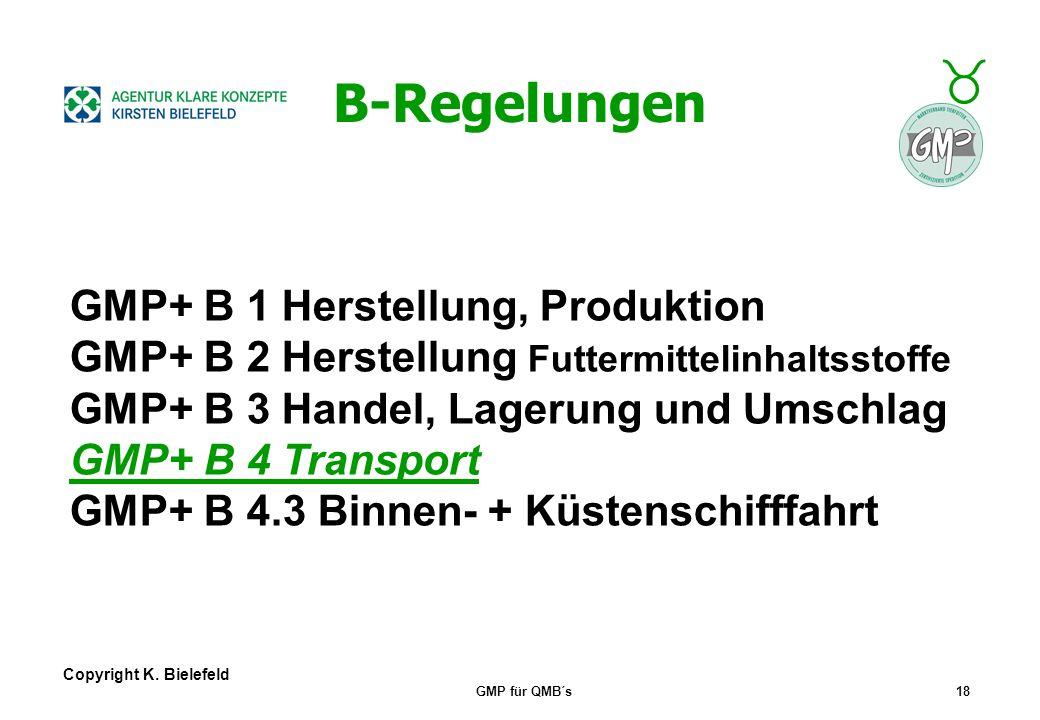 + _ Copyright K. Bielefeld GMP für QMB´s17 B-Regelungen B-Regelungen gegliedert nach DIN EN ISO 9001 Inhalte sind sehr konkret (im Gegensatz z. 9001)