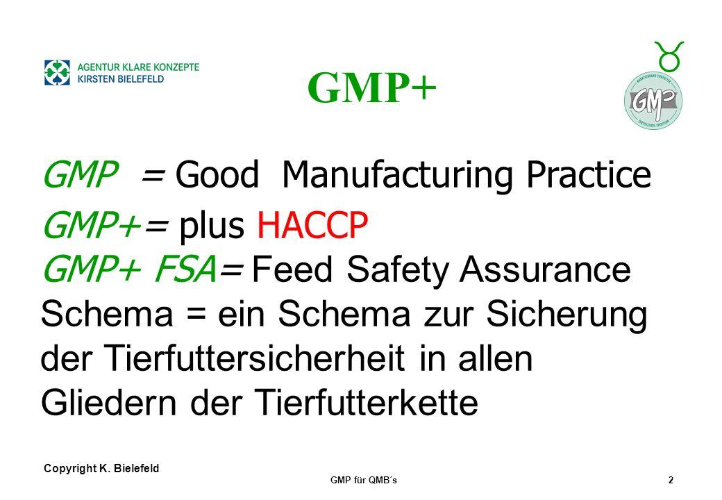 + _ Copyright K. Bielefeld GMP für QMB´s1 Slogan: Feed for Food Aus Futter wird unser Essen! GMP+