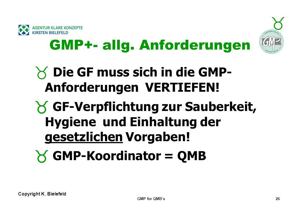 + _ Copyright K. Bielefeld GMP für QMB´s25 GMP+- allg. Anforderungen Aufbau Firmendarstellung/Dokument ation : Handbuch, Verweis auf alle Vorgaben Ver