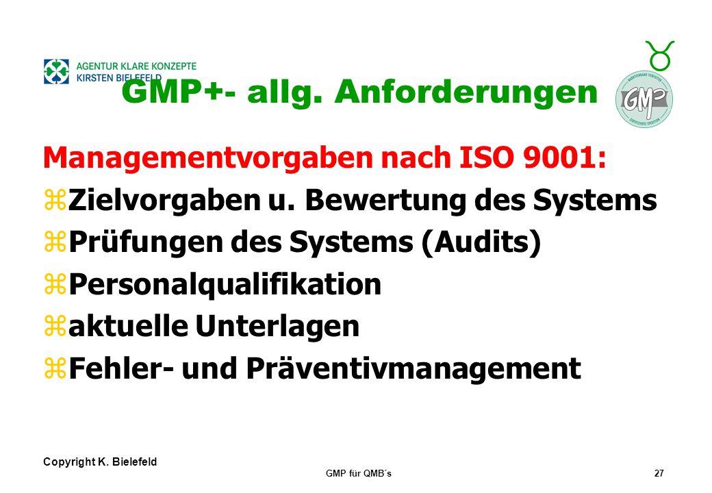 + _ Copyright K. Bielefeld GMP für QMB´s26 GMP+- allg. Anforderungen _ Die GF muss sich in die GMP- Anforderungen VERTIEFEN! _ GF-Verpflichtung zur Sa