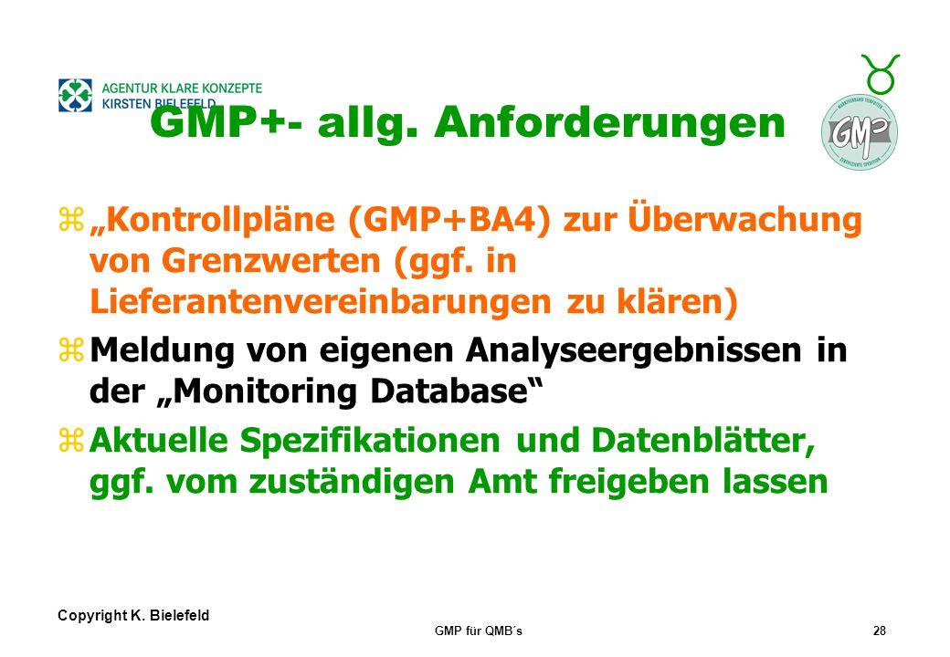 + _ Copyright K. Bielefeld GMP für QMB´s27 GMP+- allg. Anforderungen Managementvorgaben nach ISO 9001: zZielvorgaben u. Bewertung des Systems zPrüfung