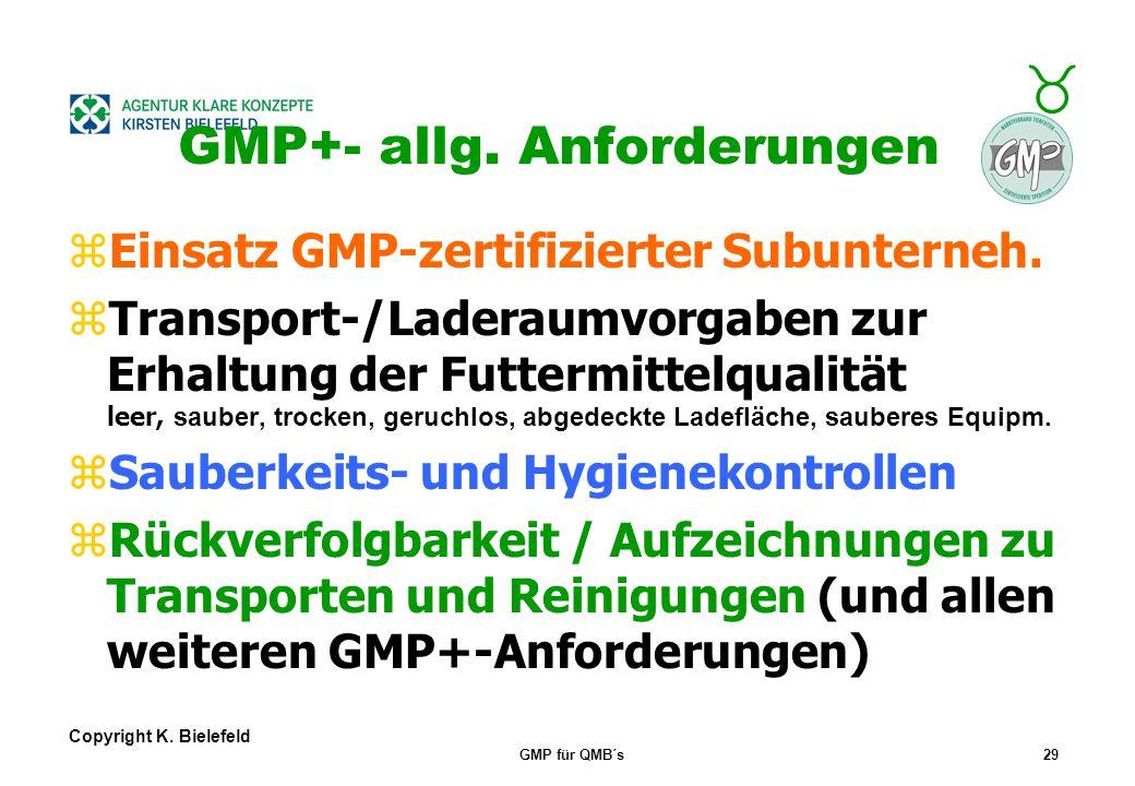 """+ _ Copyright K. Bielefeld GMP für QMB´s28 GMP+- allg. Anforderungen z""""Kontrollpläne (GMP+BA4) zur Überwachung von Grenzwerten (ggf. in Lieferantenver"""