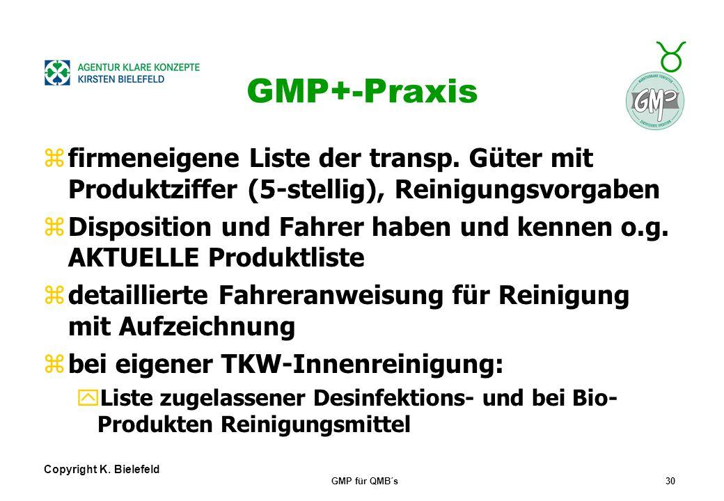 + _ Copyright K. Bielefeld GMP für QMB´s29 GMP+- allg. Anforderungen zEinsatz GMP-zertifizierter Subunterneh.  Transport-/Laderaumvorgaben zur Erhalt