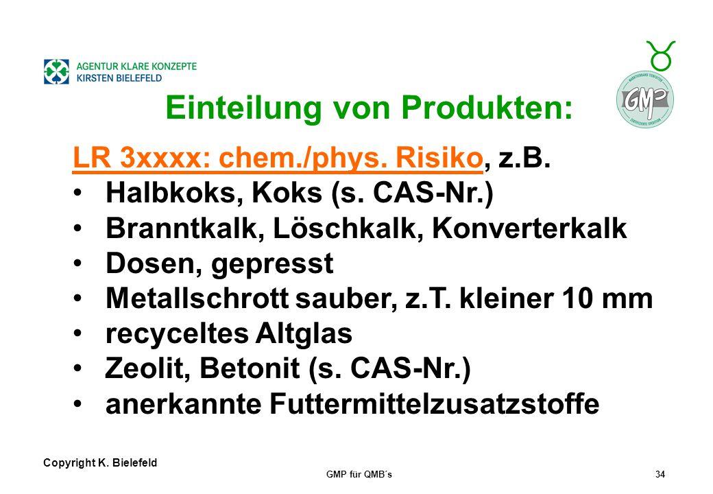 + _ Copyright K. Bielefeld GMP für QMB´s33 Einteilung von Produkten: LR 2xxxx: mikrobiologisch problematisch, z.B. Organischer Dünger pathogenfrei Mus