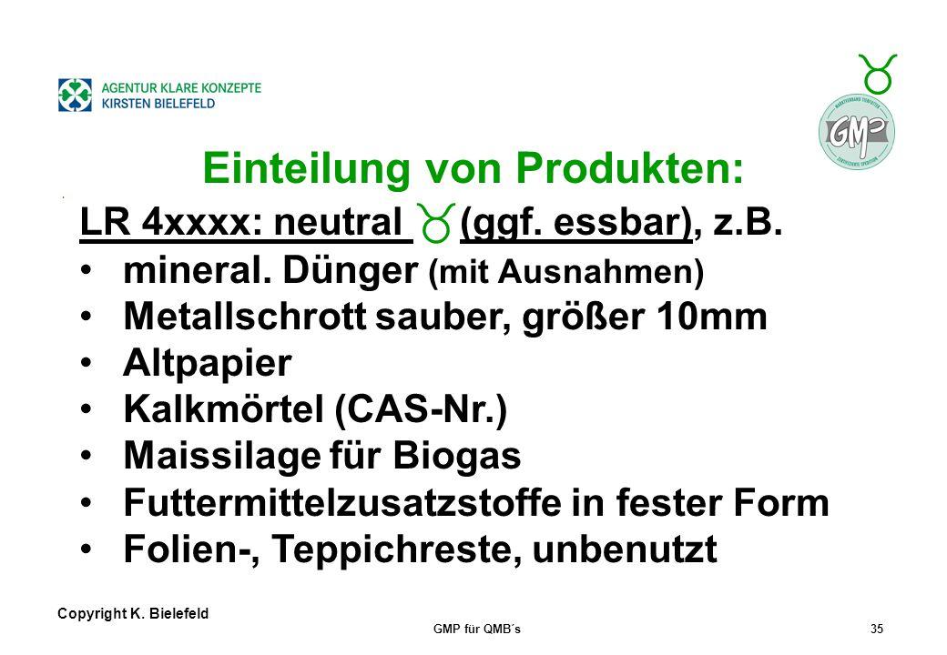 + _ Copyright K. Bielefeld GMP für QMB´s34 Einteilung von Produkten: LR 3xxxx: chem./phys. Risiko, z.B. Halbkoks, Koks (s. CAS-Nr.) Branntkalk, Löschk