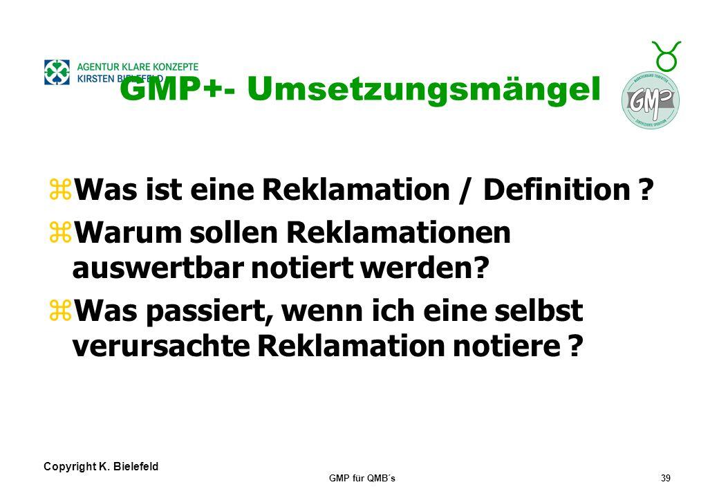 + _ Copyright K. Bielefeld GMP für QMB´s38 GMP+- Umsetzungsmängel zWo finde ich die aktuelle Produktliste? zWo finde ich die aktuellen GMP+- Regelunge