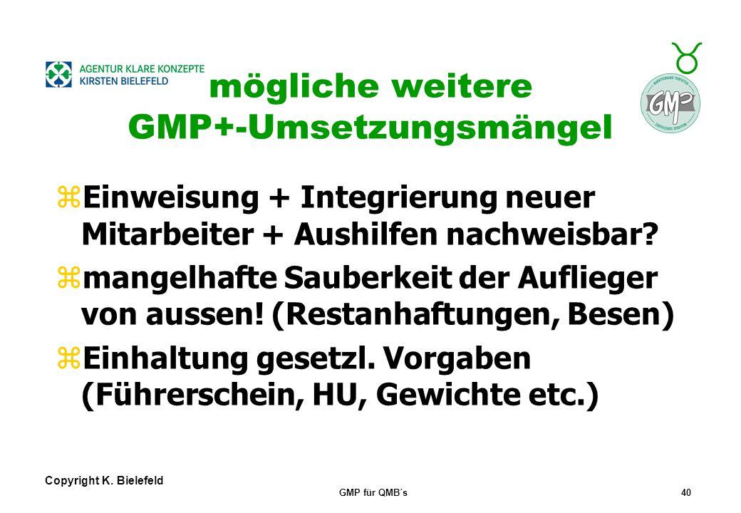 + _ Copyright K. Bielefeld GMP für QMB´s39 GMP+- Umsetzungsmängel zWas ist eine Reklamation / Definition ? zWarum sollen Reklamationen auswertbar noti