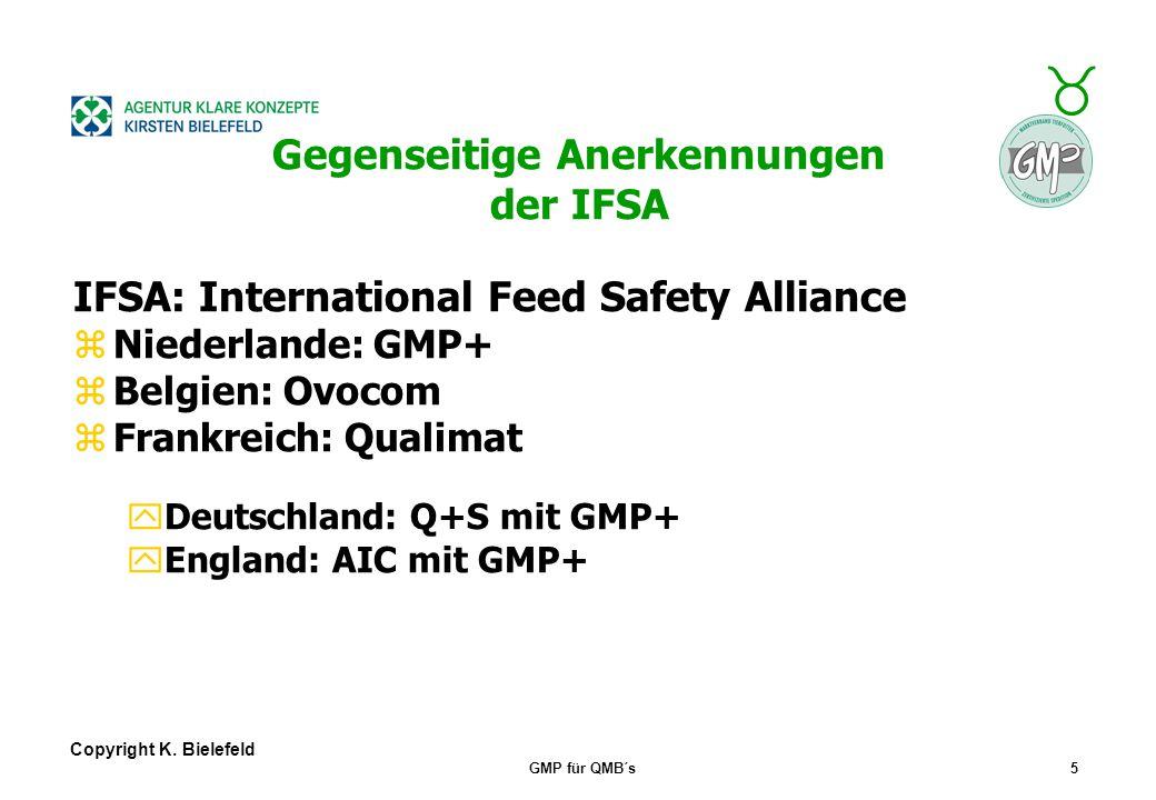 + _ Copyright K. Bielefeld GMP für QMB´s4 GMP+-Verbreitung betrifft alle Zulieferer Richtung NL, z.B. Getreidehandel, Umschlag und Lagerung, Schiff-,