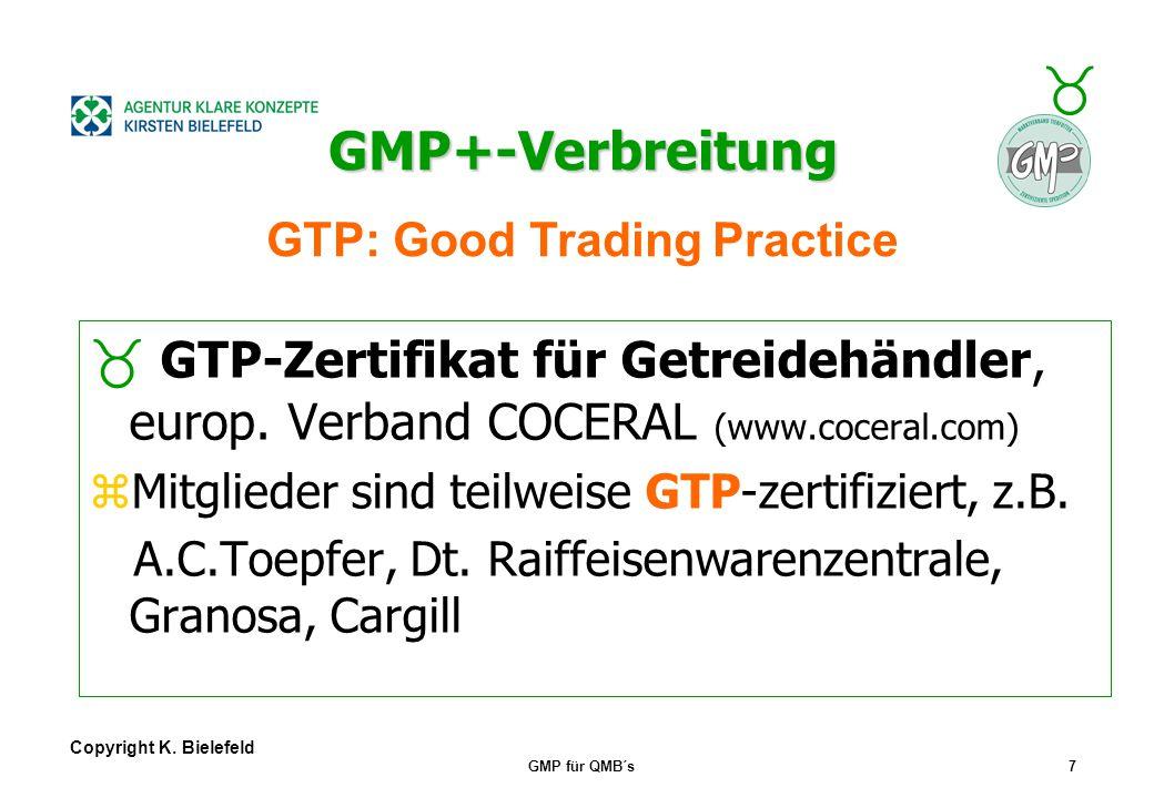 + _ Copyright K. Bielefeld GMP für QMB´s6 GMP+-Verbreitung GMP+-Verbreitung über QS-Gütezeichen QS-Gütezeichen zGesellschafter der QS GmbH (www.q-s.in