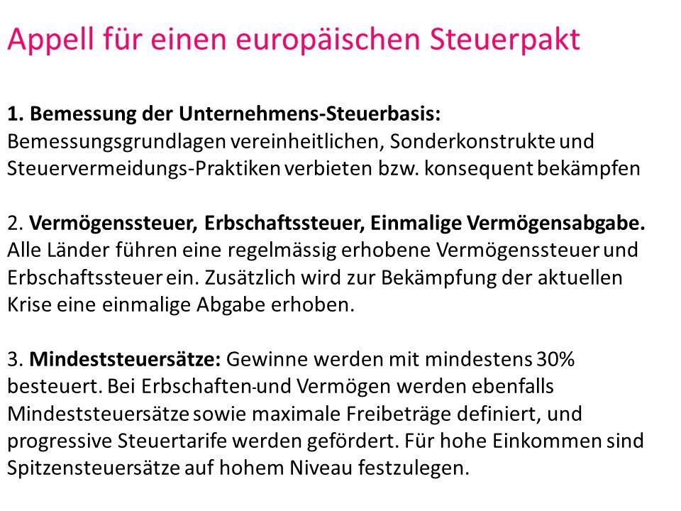 Appell für einen europäischen Steuerpakt 1.