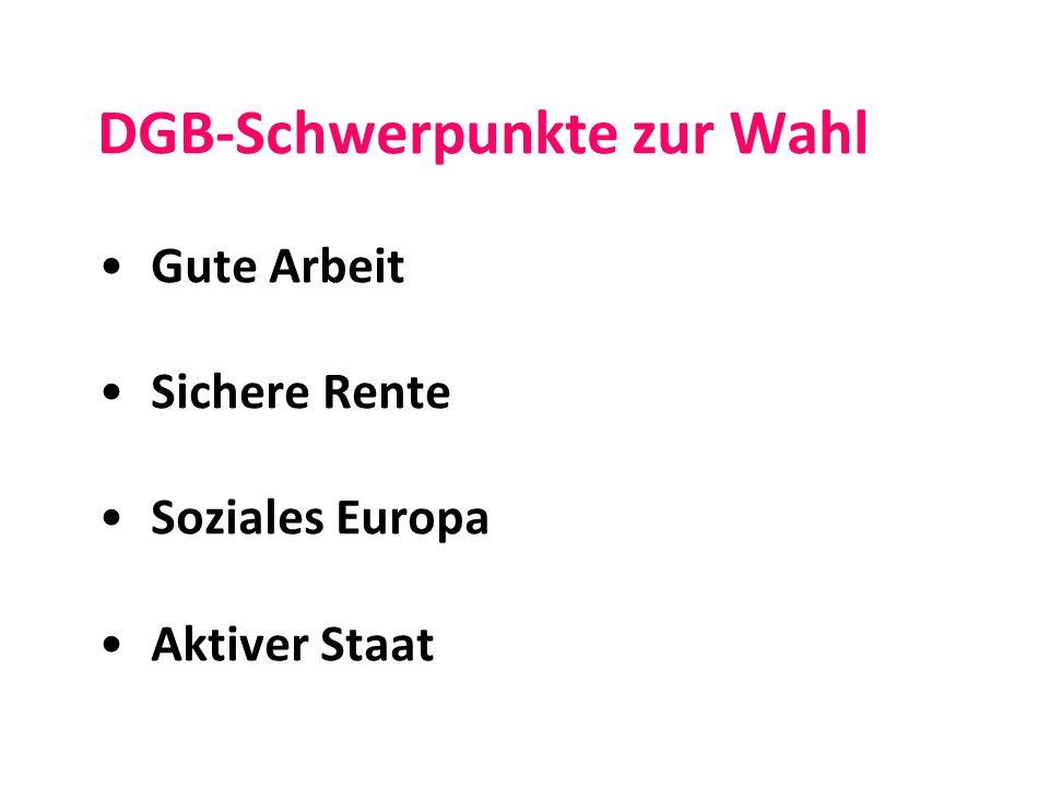 DGB-Schwerpunkte zur Wahl Gute Arbeit Sichere Rente Soziales Europa Aktiver Staat