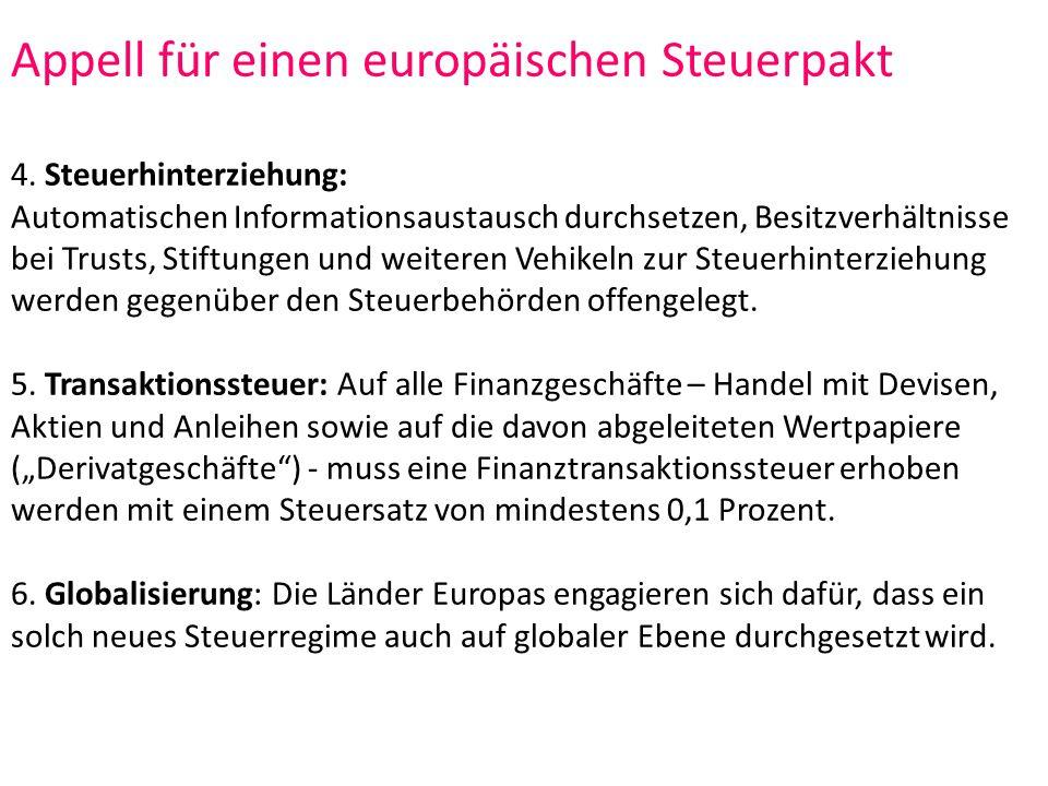 Appell für einen europäischen Steuerpakt 4.
