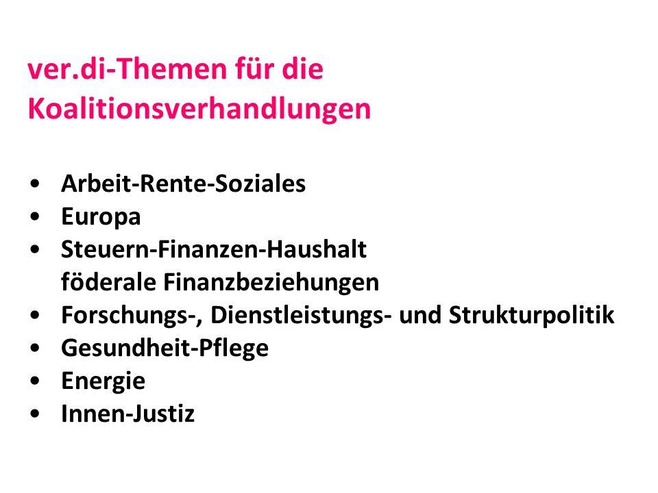 ver.di-Themen für die Koalitionsverhandlungen Arbeit-Rente-Soziales Europa Steuern-Finanzen-Haushalt föderale Finanzbeziehungen Forschungs-, Dienstleistungs- und Strukturpolitik Gesundheit-Pflege Energie Innen-Justiz