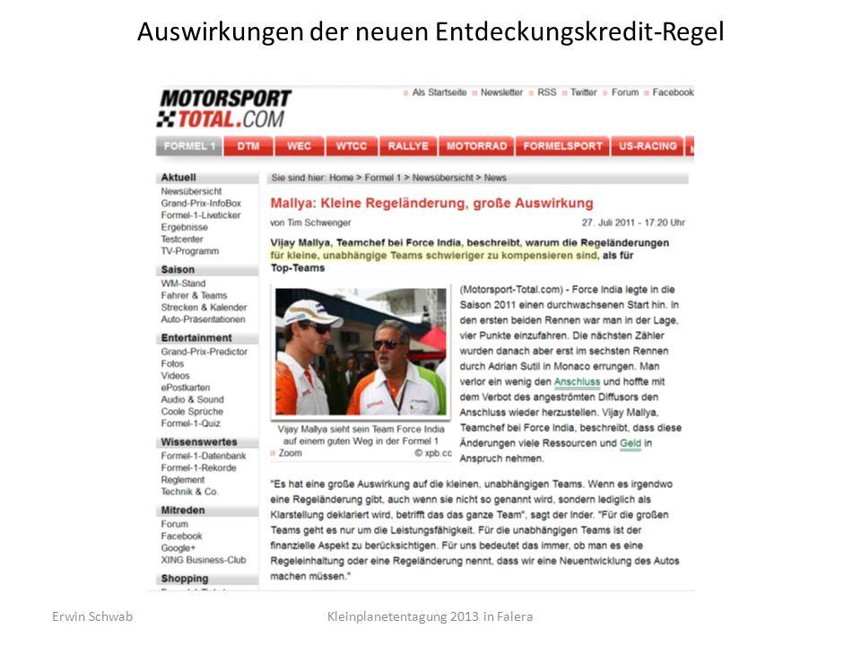 Auswirkungen der neuen Entdeckungskredit-Regel Kleinplanetentagung 2013 in FaleraErwin Schwab