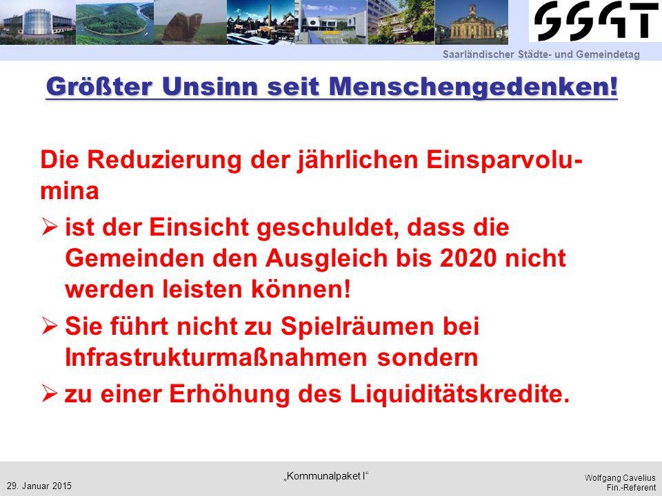 Saarländischer Städte- und Gemeindetag Wolfgang Cavelius Fin.-Referent Größter Unsinn seit Menschengedenken! Die Reduzierung der jährlichen Einsparvol