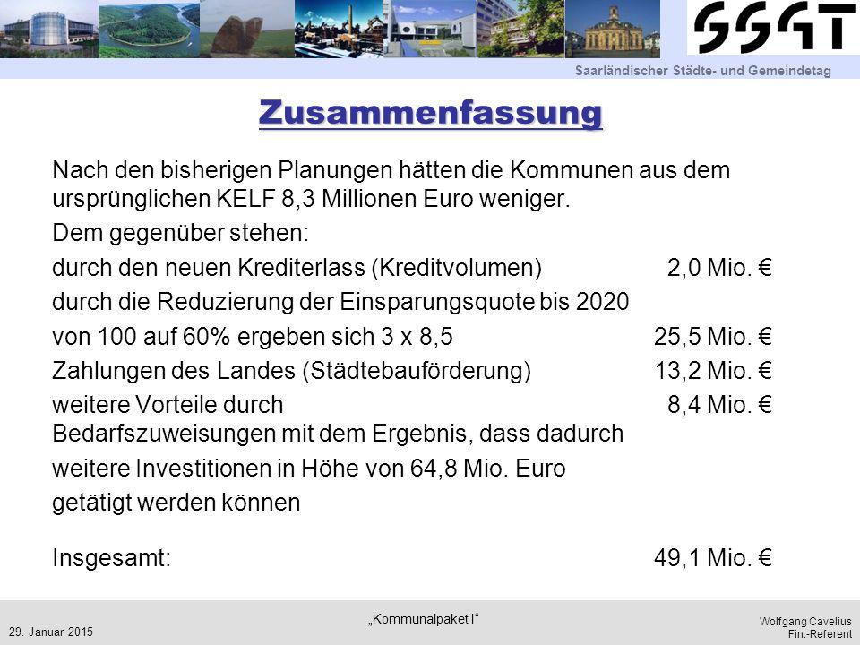 Saarländischer Städte- und Gemeindetag Wolfgang Cavelius Fin.-Referent Zusammenfassung Nach den bisherigen Planungen hätten die Kommunen aus dem ursprünglichen KELF 8,3 Millionen Euro weniger.