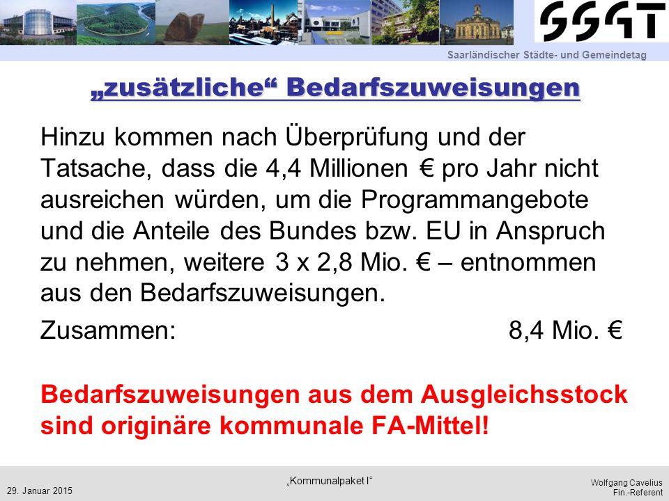 """Saarländischer Städte- und Gemeindetag Wolfgang Cavelius Fin.-Referent """"zusätzliche"""" Bedarfszuweisungen Hinzu kommen nach Überprüfung und der Tatsache"""