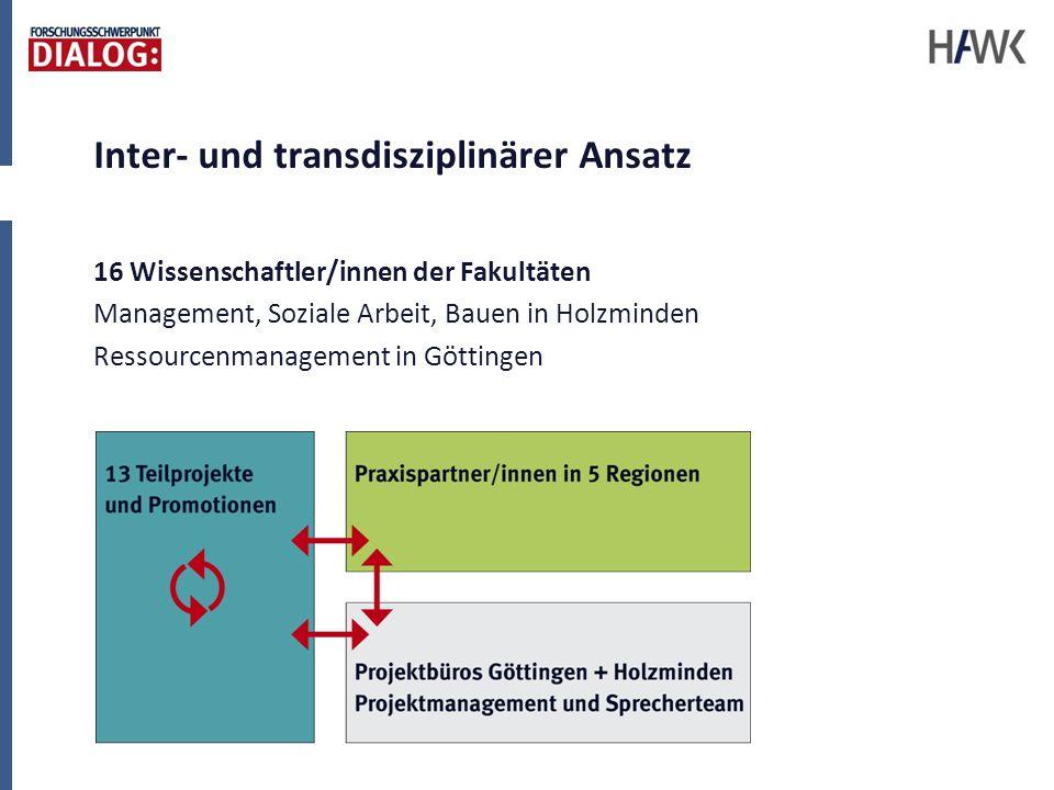 Inter- und transdisziplinärer Ansatz 16 Wissenschaftler/innen der Fakultäten Management, Soziale Arbeit, Bauen in Holzminden Ressourcenmanagement in G