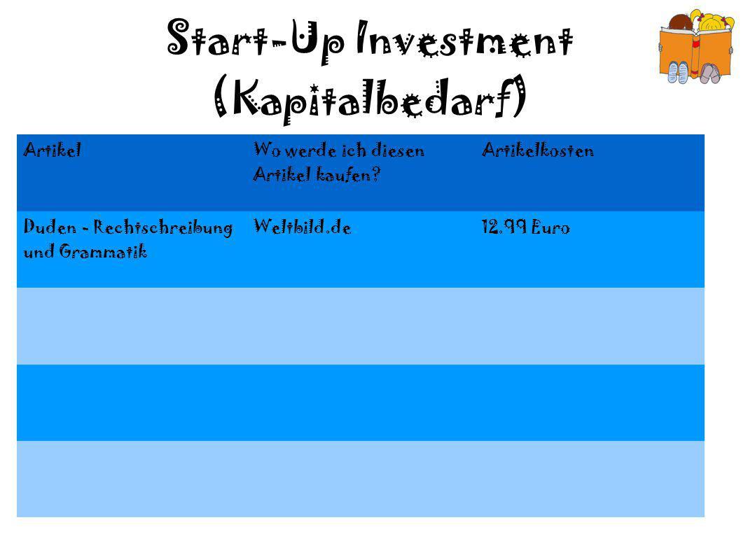 Start-Up Investment (Kapitalbedarf) Artikel Wo werde ich diesen Artikel kaufen? Artikelkosten Duden - Rechtschreibung und Grammatik Weltbild.de12.99 E