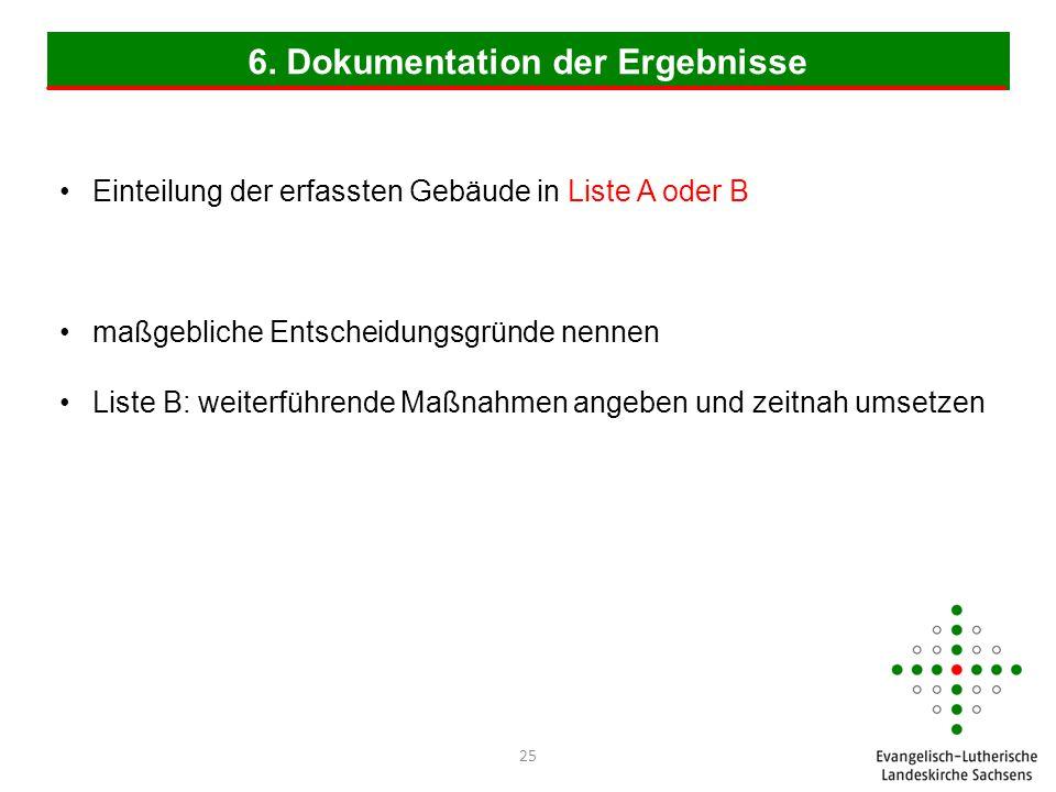 6. Dokumentation der Ergebnisse Einteilung der erfassten Gebäude in Liste A oder B maßgebliche Entscheidungsgründe nennen Liste B: weiterführende Maßn
