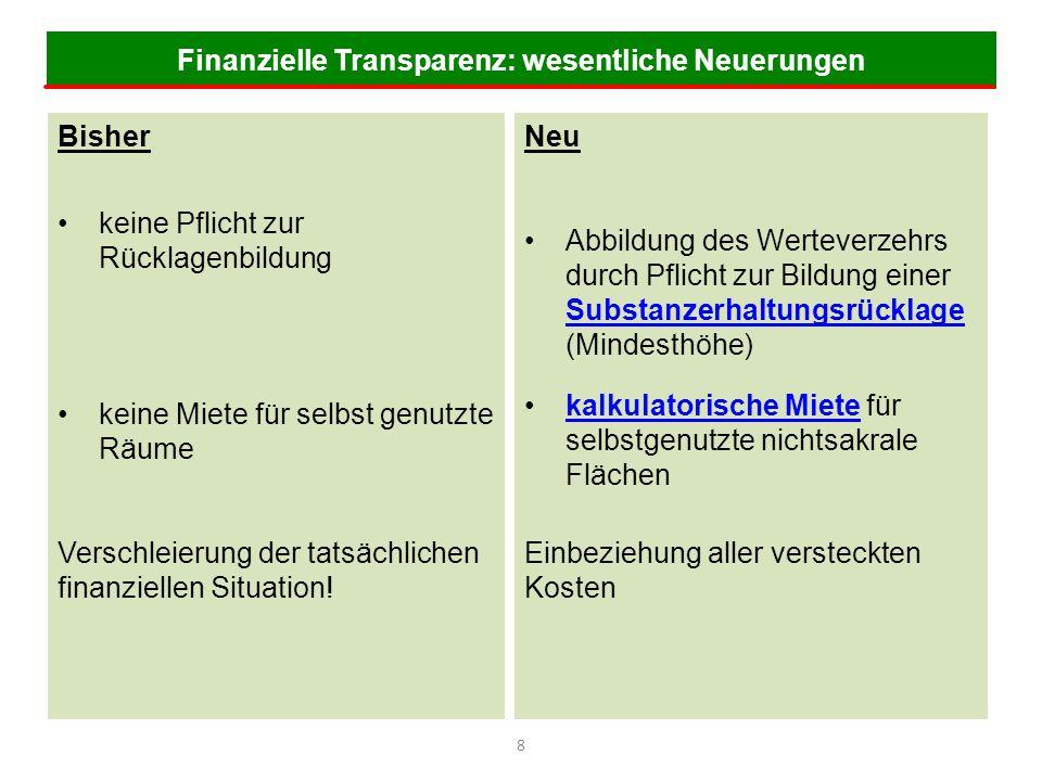 Finanzielle Transparenz: wesentliche Neuerungen 8 Bisher keine Pflicht zur Rücklagenbildung keine Miete für selbst genutzte Räume Verschleierung der t
